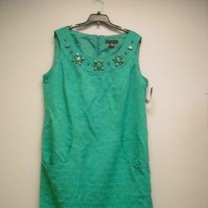 WOMEN'S JEWELED GREEN DRESS SZ 14W NWT